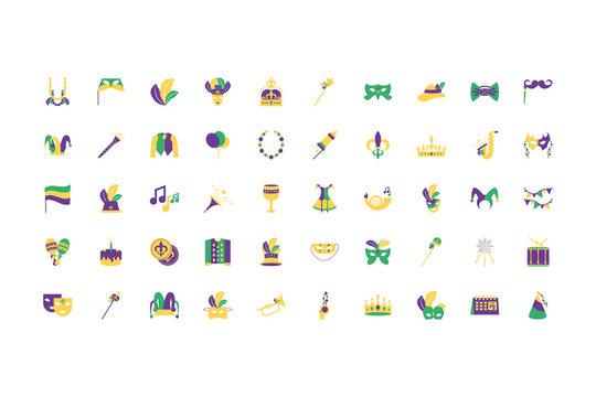 Isolated mardi gras icon set vector design