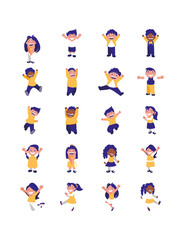 Isolated set of boys and girls avatars vector design
