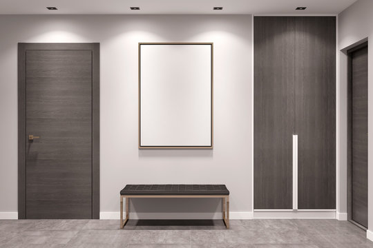Empty gray hallway with closed doors, a dark wooden wardrobe, a bench and a blank mock up poster on the wall. Front view. 3d illustration