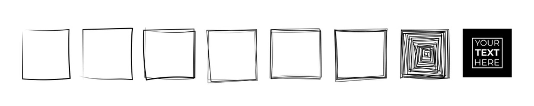 Set of hand drawn pen and pencil black square. Quadrate frame sketch on white background. Continuous line art doodle vector illustration
