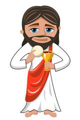 Jesus christ celerating eucharist isolated on white