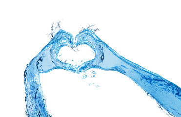 Hands made of liquid water show heart love gesture