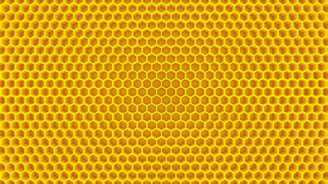 honey yellow honeycomb cells beehive 3D illustration