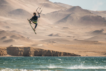 KiteSurfing in the amazing desert and ocean of Peru.
