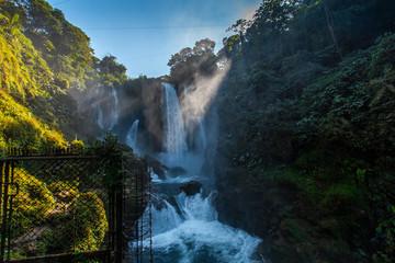 Inside the Pulhapanzak waterfall on Lake Yojoa. Honduras