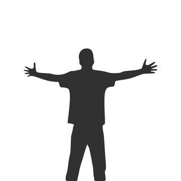 Men with wide open hands with palm extended silhouette. Stock Vector illustration isolated on white background.