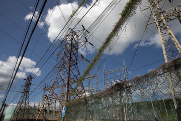 High-tension electrical power lines are seen at the Costa Sur power plant after the earthquake in Guayanilla