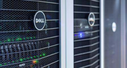 Dell Server units in cloud service data center showing flickering light indicators for massive data connection bandwidth, close up shot.