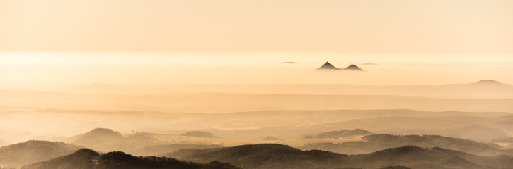 Printed kitchen splashbacks Beige Bezdez twin mountains rising from the mist. Weather temperature inversion, Czech Republic
