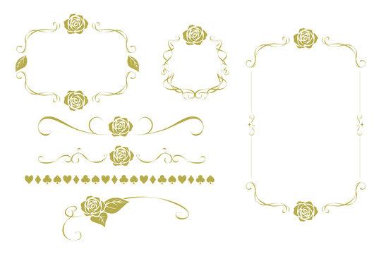 Vintage rose frame. Lines, ornaments, ornaments, backgrounds. Alice motif in wonderland.