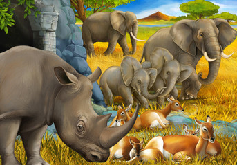 cartoon scene with rhino rhinoceros antelope and elephant on the meadow illustration for children