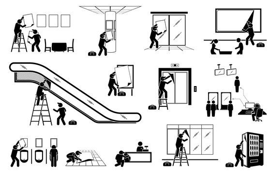 Advertisement agency putting up display advertisement for indoor marketing. Vector illustrations of stick figure man delivering poster, banner, and sticker to different places for marketing strategy.