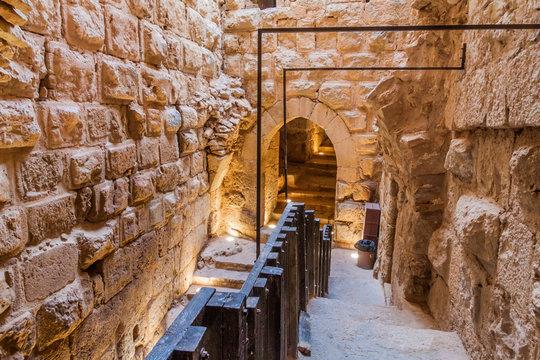 AJLOUN, JORDAN - MARCH 22, 2017: Interior of Rabad castle in Ajloun, Jordan.
