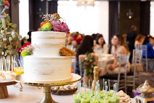 Bridal shower cake on reception table