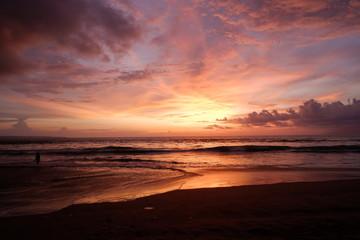 Printed kitchen splashbacks Eggplant sunset on the beach