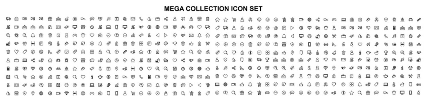 Mega set of icons in trendy line style. Business, ecommerce, finance, accounting. Big set Icons collection. Vector illustration