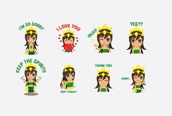 Cute Green Noble Female Queen Sticker Character Vector with Multiple Expression Pose Wall mural
