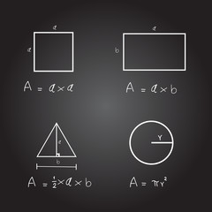 Hand written formula area of rectangular, triangle and circle on black background. Equation area of mathematics. Education and learning concept.