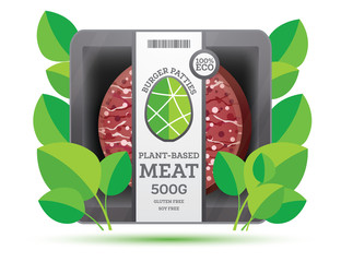Burger Patties from Plant Based Meat in Package Isolated on White.