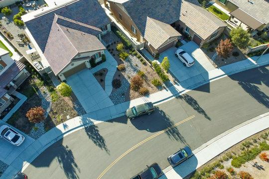 Aerial View of Populated Neigborhood Of Houses