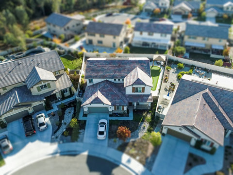 Aerial View of Populated Neigborhood Of Houses With Tilt-Shift Blur