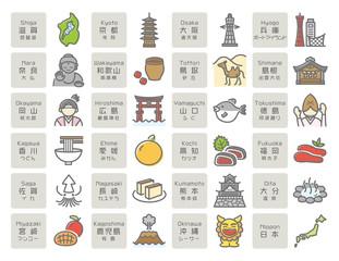 日本の名所・名産(西日本) アイコン素材セット