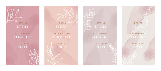 Fotobehang - Creative hard paint cover design backgrounds vector. Minimal trendy style organic shapes pattern with copy space for text design for invitation, Party card,Social Highlight Covers and stories page