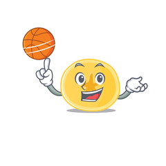 A mascot picture of banana chips cartoon character playing basketball
