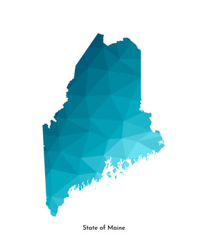 Vector isolated illustration icon with simplified blue map's silhouette of State of Maine (USA). Polygonal geometric style. White background