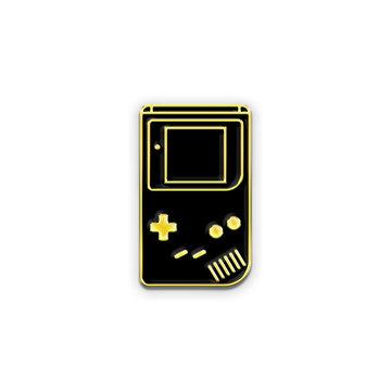 Retro Handheld Console Enamel Pin Mockup Isolated on White