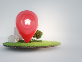 Fototapeta House symbol with location pin icon on earth and green grass in real estate sale or property investment concept. Buying land for new home. 3d illustration of big advertising sign.