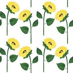 Watercolor sunflowers seamless pattern