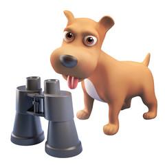 Cartoon 3d cute puppy dog character standing near a pair of binoculars, 3d illustration