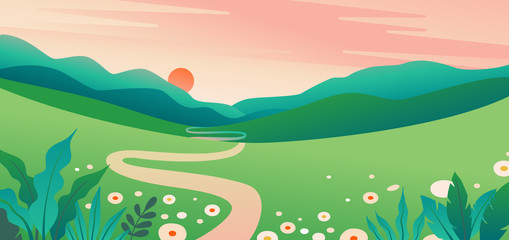 Vector illustration in flat simple style  with copy space for text - summer landscape with natural scene - gradient hills - abstract background or wallpaper for banner, greeting card, wallpaper