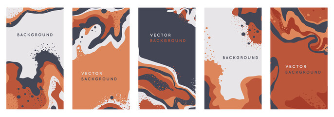 Vector set of abstract creative backgrounds in minimal trendy style with copy space for text - design templates for social media stories - simple, stylish and minimal wallpaper designs Fototapete