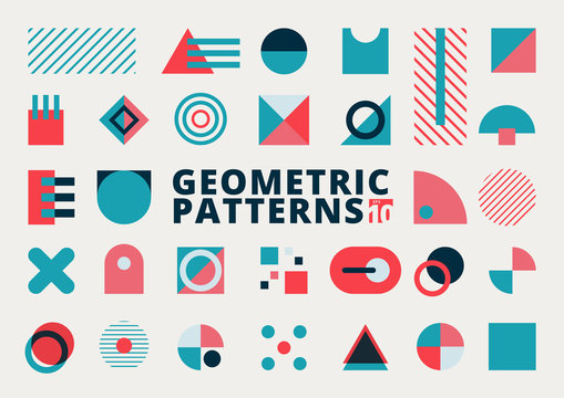 Set of geometric shapes flat design blue and pink color on white background.