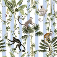 Tropical vintage monkey, sloth animal, palm tree, banana tree, liana floral seamless pattern striped background. Exotic jungle wallpaper.