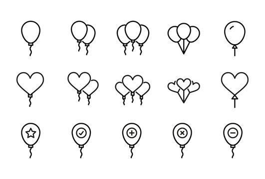Stroke line icons set of balloon.