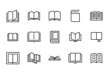 Stroke line icons set of book. Wall mural
