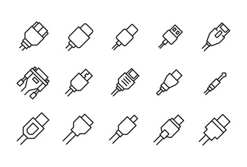 Icon set of cable.