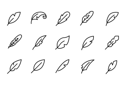 Stroke line icons set of quill.
