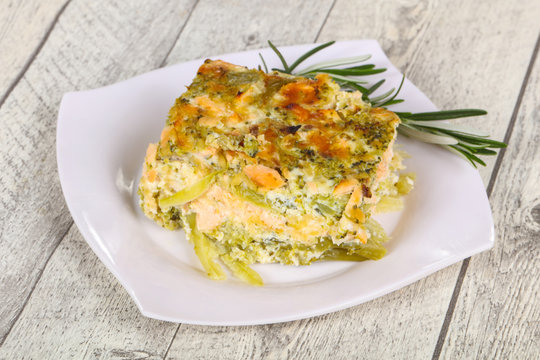 Tasty casserole with salmon and broccoli