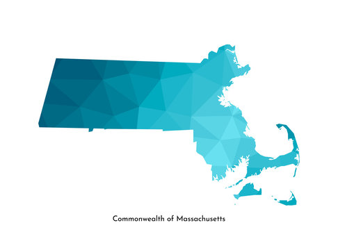 Vector isolated illustration icon with simplified blue map's silhouette of Commonwealth of Massachusetts (USA). Polygonal geometric style. White background
