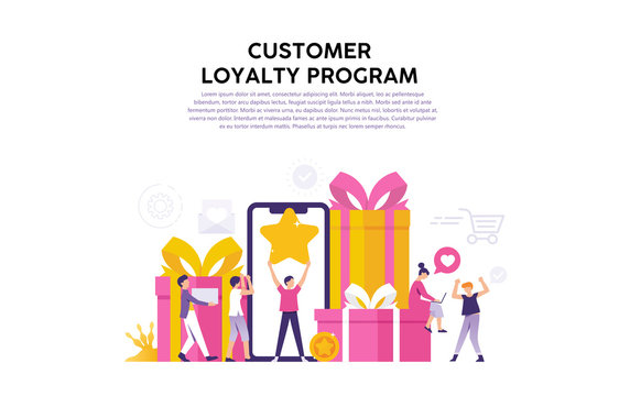concept illustration of consumer loyalty program, reward for loyal consumers and loyal users of the web or application