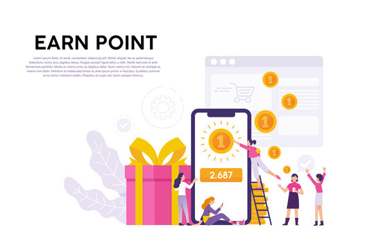illustrated concept of consumers who collect points as rewards from the applications they follow
