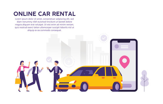 Online car rental vector design illustration concepts that are easier to use the application