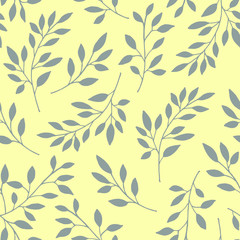 Floral seamless pattern of the branches. Vector illustration. Background branches with grey leaves on yellow background.