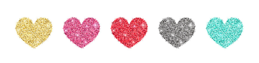 Decorative glitter shiny hearts set isolated on white. Rose gold, pink, golden, silver, red, mint glossy sparkles shape. Vector illustration for web, banner, sticker, wedding, Valentines greeting card Fotobehang