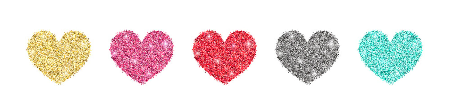 Decorative glitter shiny hearts set isolated on white. Rose gold, pink, golden, silver, red, mint glossy sparkles shape. Vector illustration for web, banner, sticker, wedding, Valentines greeting card