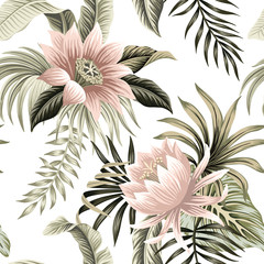 Tuinposter Kunstmatig Tropical vintage pink lotus, palm leaves, banana leaves floral seamless pattern white background. Exotic jungle wallpaper.